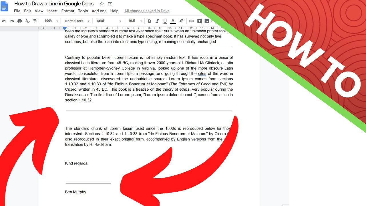 How to Draw a Line and (Signature) line in google docs