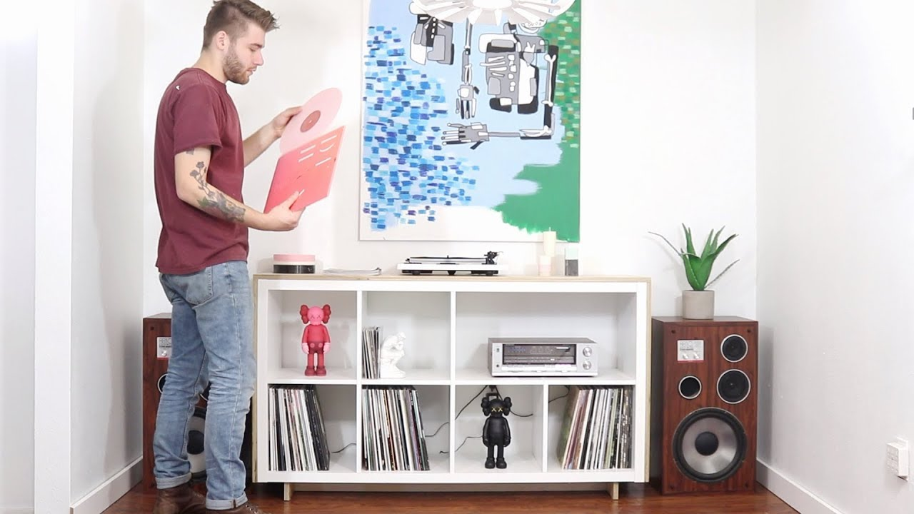 Diy Media Record Console Ikea Hack Kallax Bookcase Youtube