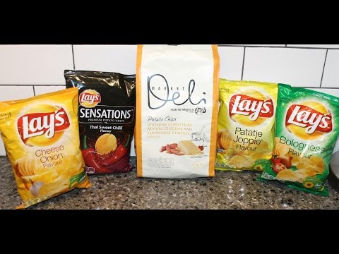 From Germany: Lay's Cheese Onion, Thai Sweet Chilli, Wiltshire Cured Ham, Patatje Joppie & Bolognese from YouTube · Duration:  8 minutes 18 seconds