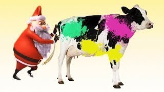 Farm Animals For Kids With Santa Claus fun Learning names and sounds of farm Animals