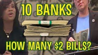 Went to 10 banks in 24 hours seeking $2 bills - how many did I get? Hidden camera challenge