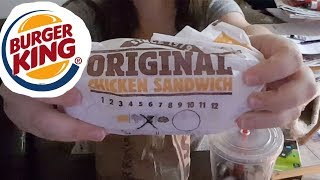 ASMR Burger King Original Chicken Sandwich | French Fries | Fast Food Eating Sounds