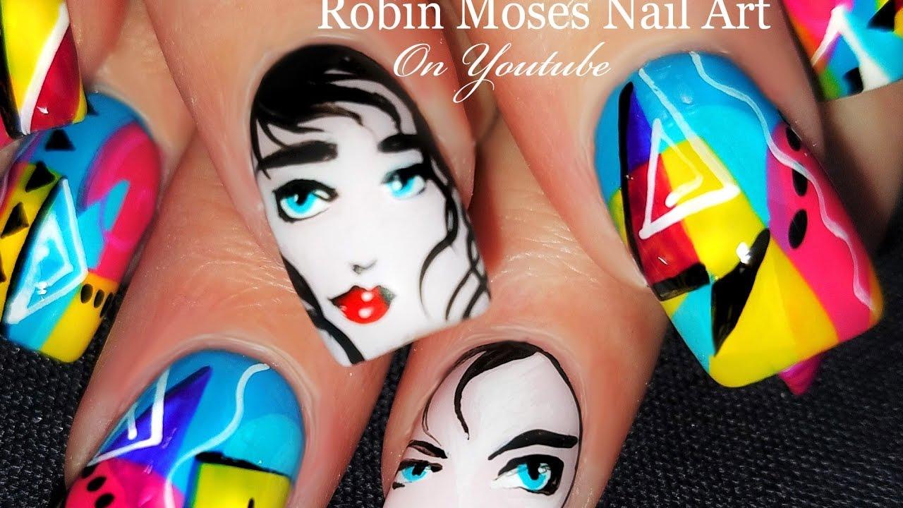 Colorful Nails! Cute Rio inspired 80\'s Nail Art   Pop Art Nails ...