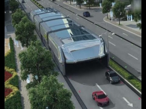 Futuristic straddling bus allows cars running underneath