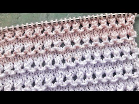 Простой ажурный узор с рельефом для вязания летних топов, джемперов,  бактуса / Очень легко вязать