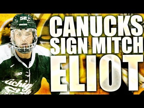 CANUCKS SIGN MITCH ELIOT (Vancouver Canucks Free Agent Signing / Sarnia Sting Righty Defenceman)