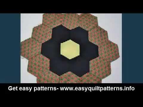 Beginner hand quilting grandmother flower garden quilt pattern variations youtube for Grandmother flower garden quilt pattern variations