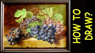 How to draw grapes. The accelerated process of shooting paint brush on canvas