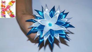 канзаши для начинающих,мастер класс своими руками,kanzashi flower tutorial