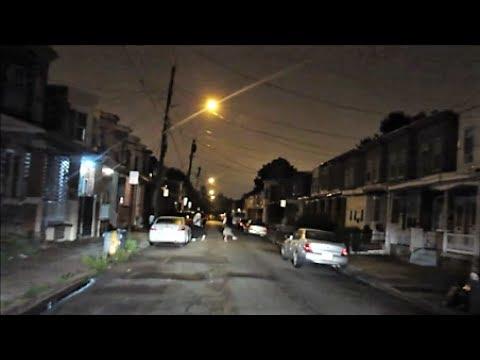 CAMDEN NEW JERSEY HOOD AT NIGHT...CREEPY