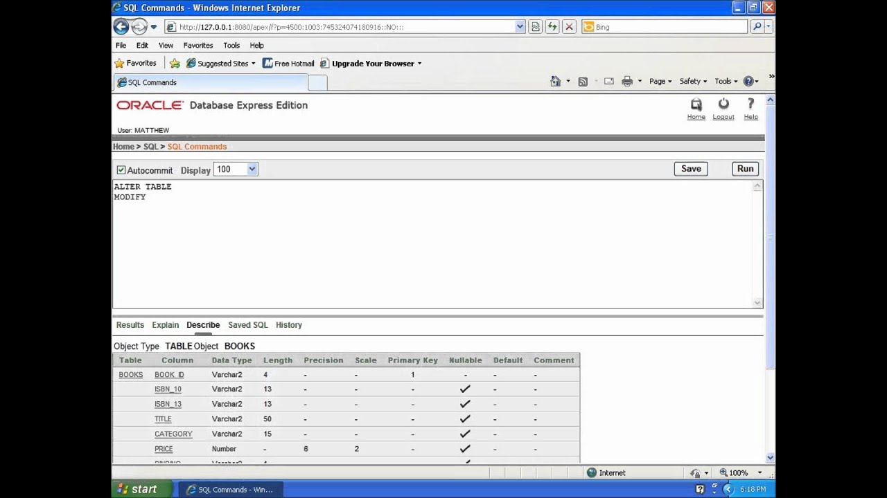 Sql with oracle 10g xe using alter table to modify table columns youtube - Alter table modify column ...