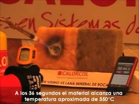 PRUEBA DE FUEGO... FIBRA DE VIDRIO VS LANA MINERAL DE ROCA.mp4