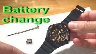 Watch battery change replacement wrist Casio 5125 MRW-200H water resistant 100m 377