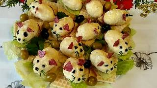 Новогодняя сырная закуска Мышиное семейство