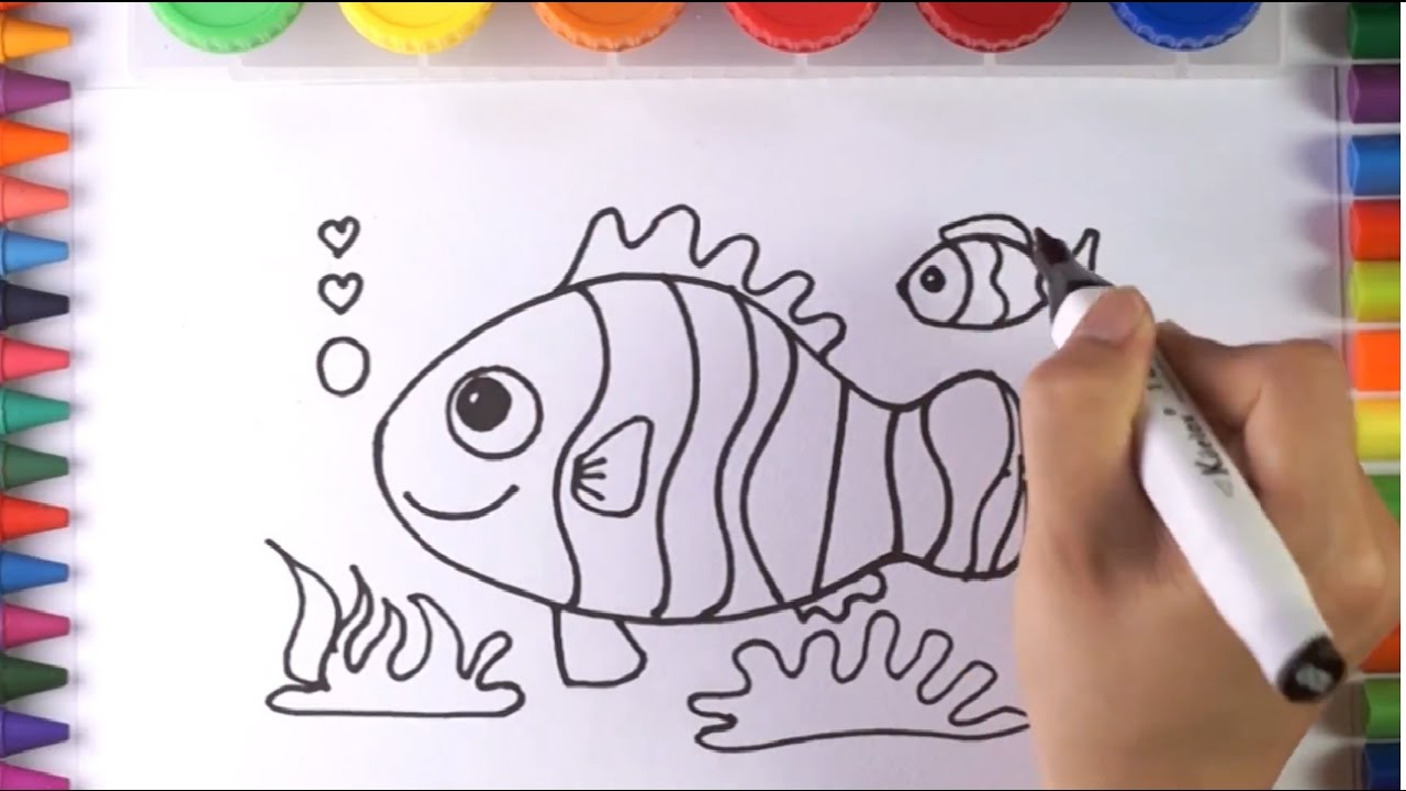 How to Draw and Coloring Colorful Fish | Coloring Book for Kids with ...