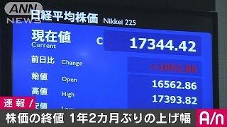 東京株式市場の平均株価の終値は、9日に比べて1092円高い1万7344円でし...