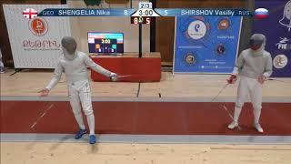 FE 2018 T16 07 M S Individual Yerevan ARM U23 European Championships RED SHENGELIA GEO vs SHIRSHOV R thumbnail