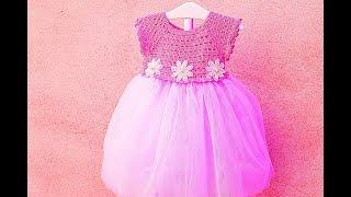 Crochet tulle dress for a girl