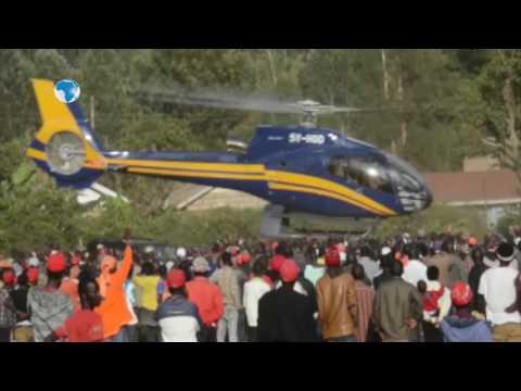 Drama in Meru as man hangs on Raila's chopper