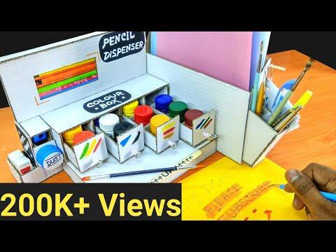 how-to-make-pencil-sharpener-dispenser-machine-from-cardboard-diy-drawing-desktop-organizer-tutorial