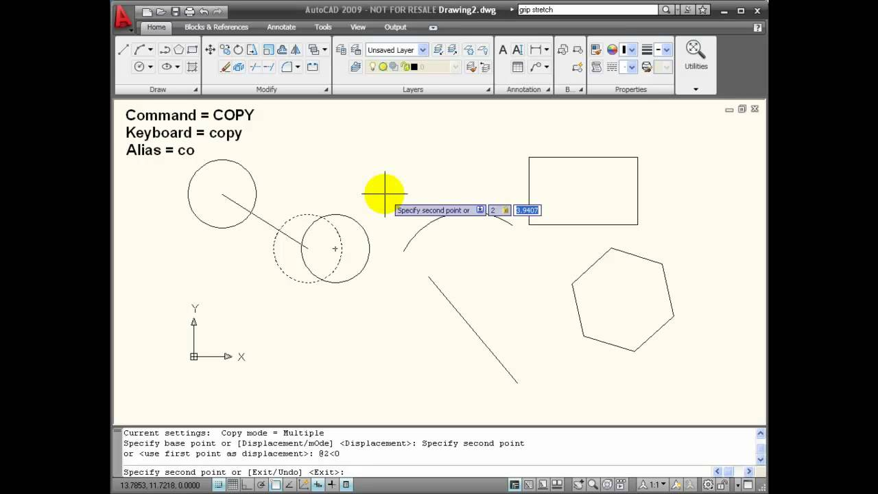 Autocad tutorials using the copy command youtube for Copy cad