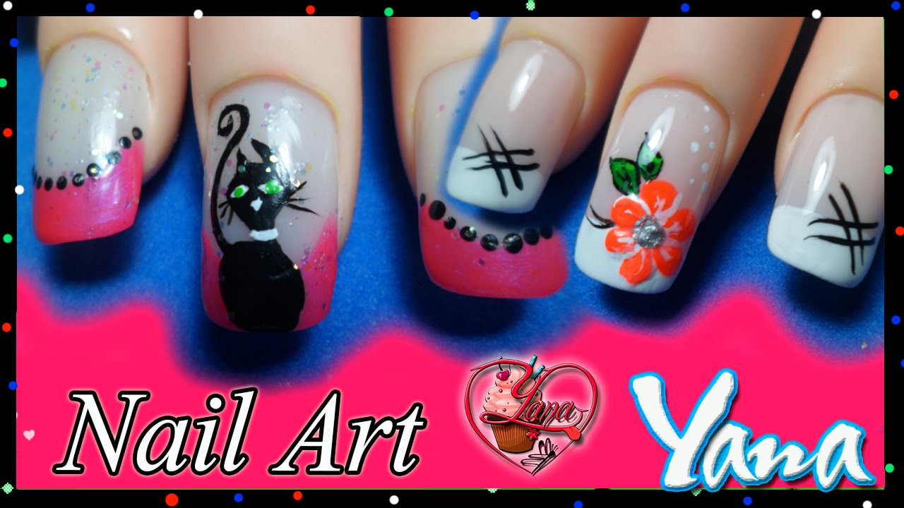 Uñas Decoradas Gata Y Rosa Yana Nail Art By Yana Creativa