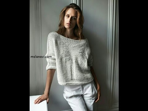пуловер из хлопка на лето с пальмой мк часть 1