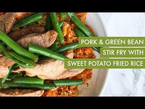 Pork & Green Bean Stir Fry with Sweet Potato Fried Rice I Spiralizer Recipe