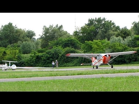 Glider Take-off ✈ Stinson L-5 tow plane