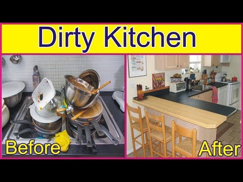 DEEP CLEANiNG MY VERY DiRTY KITCHEN | DiRTY KITCHEN BY GOLDEN HACKS