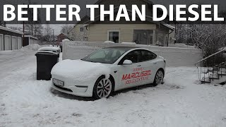 How long can a Tesla keep you warm in winter?