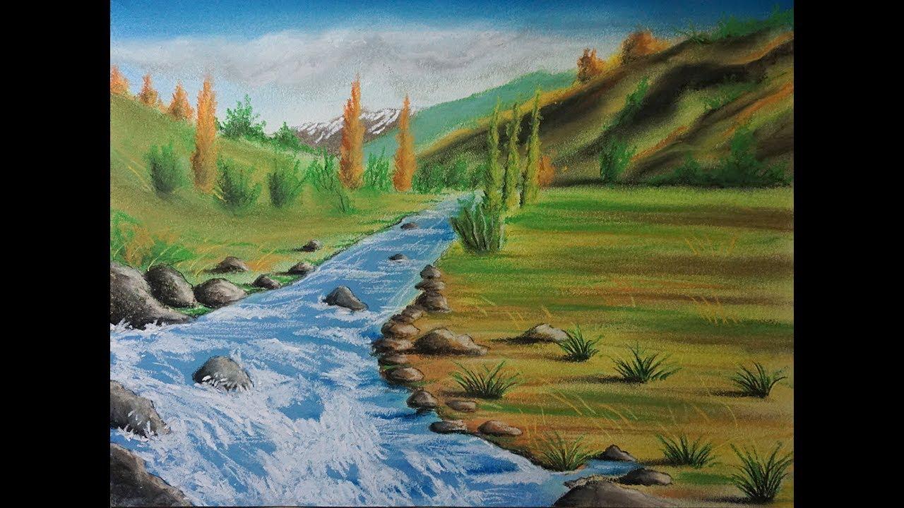 Cómo Dibujar Un Río Paso A Paso Paisaje Con Tiza Pastel Youtube