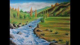 Cómo Dibujar un Río Paso a Paso - Paisaje con Tiza pastel