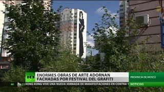 Enormes obras de arte adornan fachadas de la provincia de Moscú en festival de grafiti