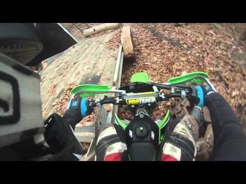 kx 100 trail riding hill climbs and angry lady
