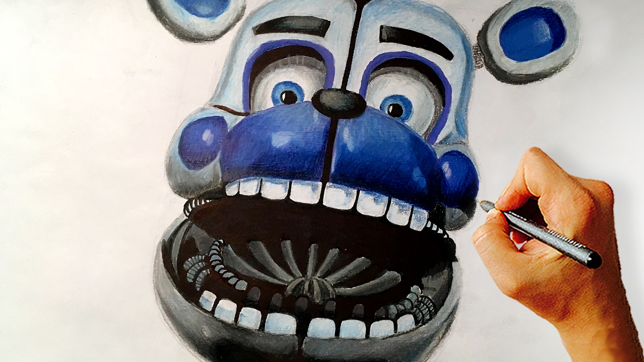 Fnaf Sister Location Drawing: Funtime Freddy Jumpscare (Time Lapse ...