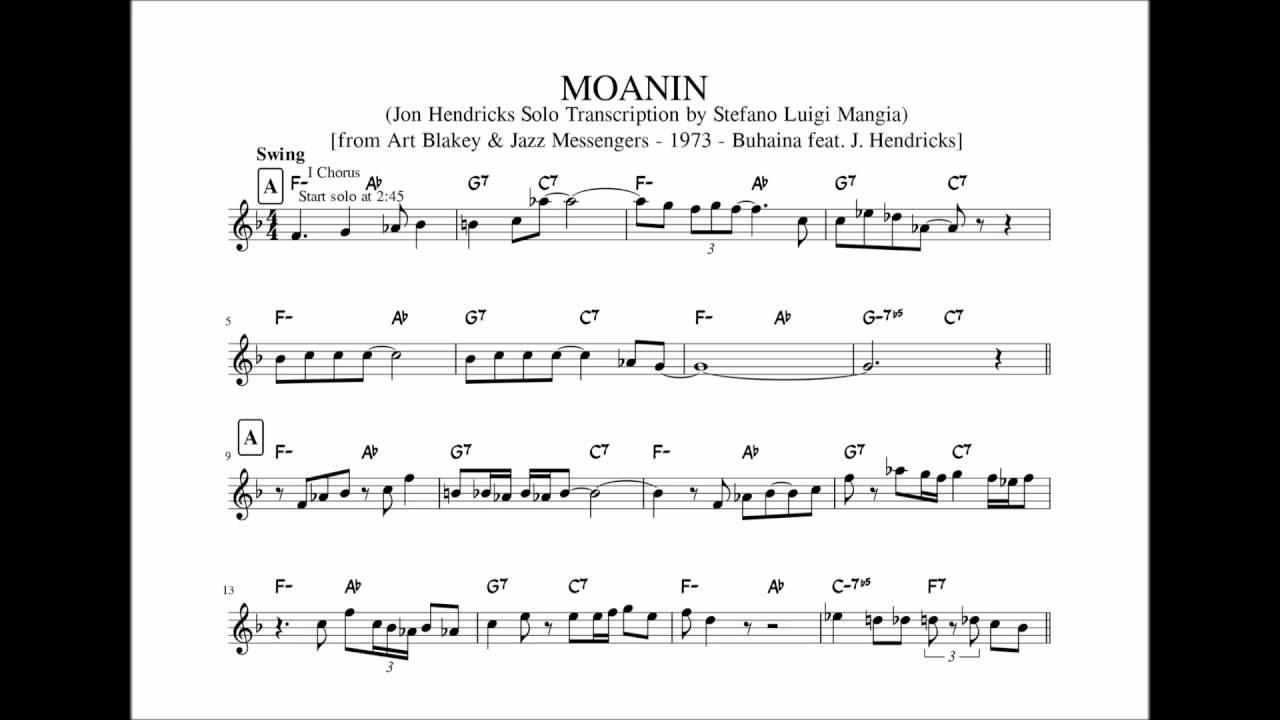 Moanin - Jon Hendricks solo Transcription