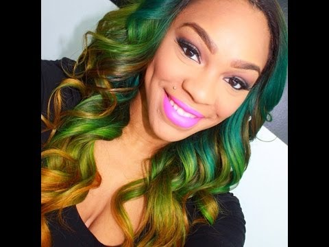 Green Yellow Ombre On Nana S Virgin Brazilian Hair Youtube