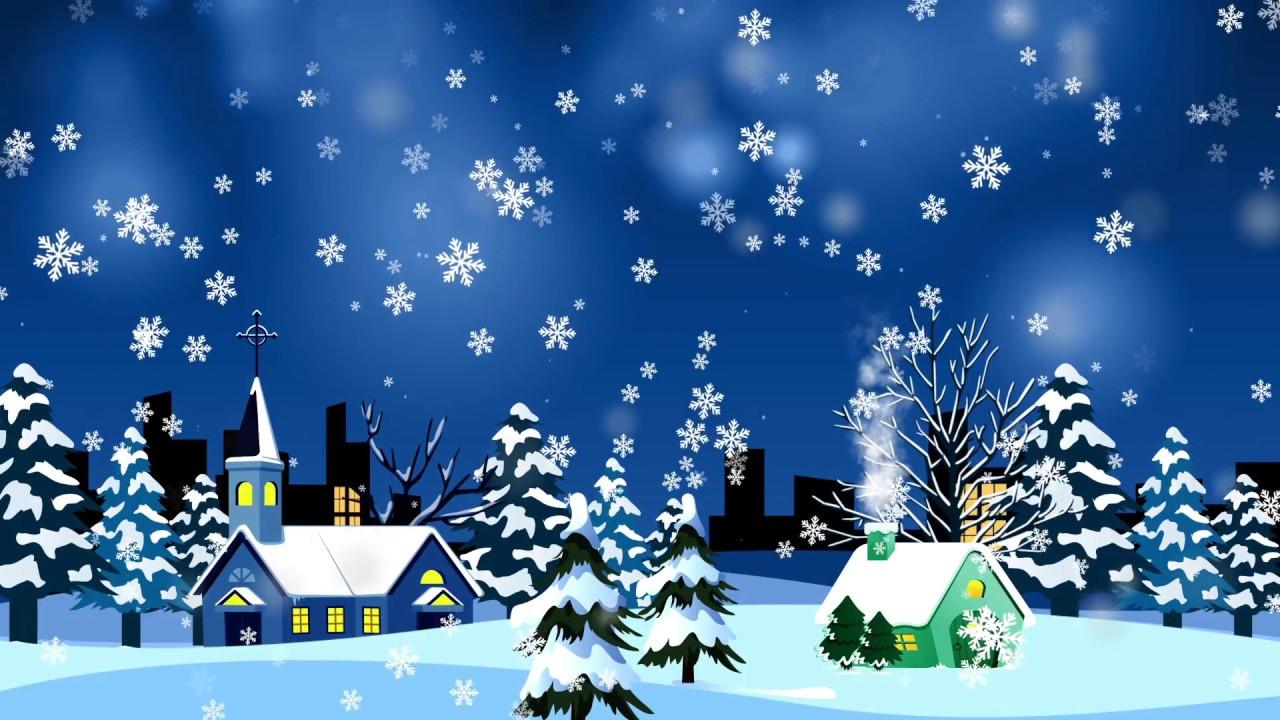 Cartoon Christmas snow falling Video for Children - YouTube