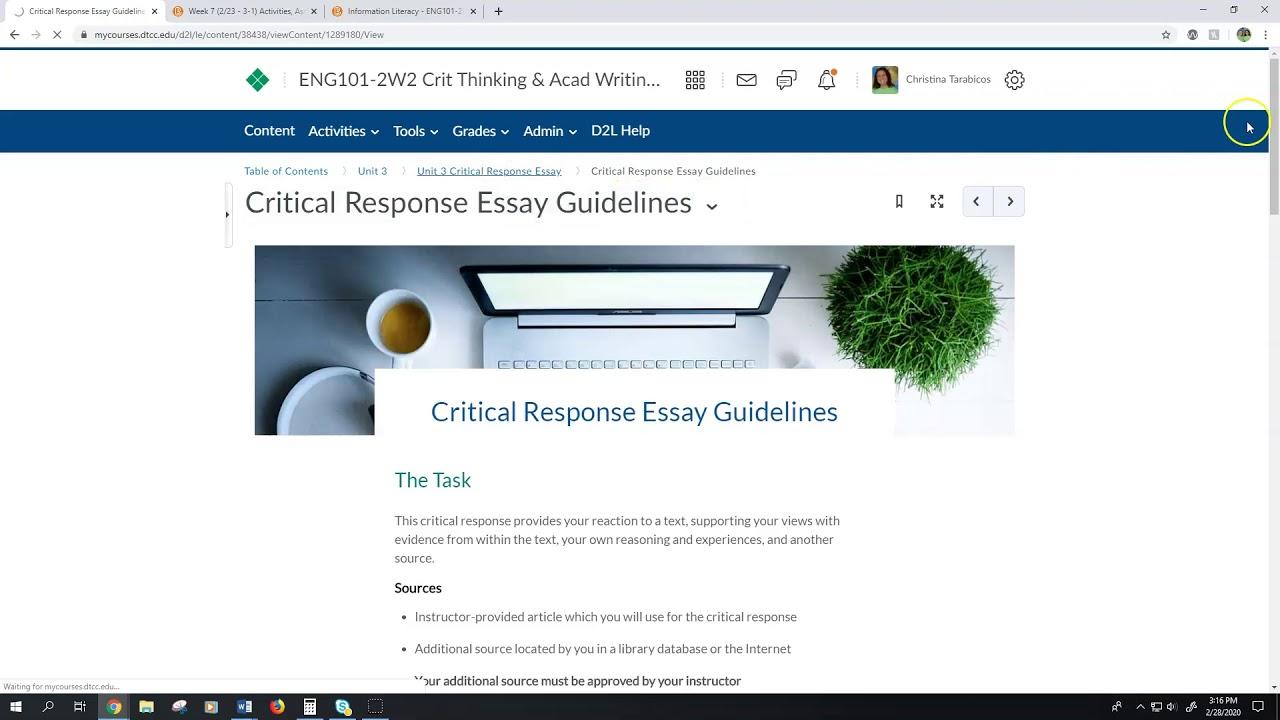Critical response essay
