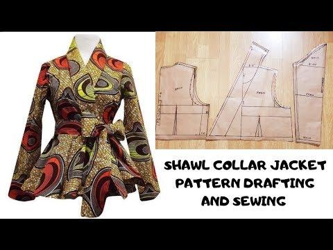 How To Make A Shawl Collar Jacket With Peplum | Women's Jacket/Blazer | Pattern Drafting | Collar