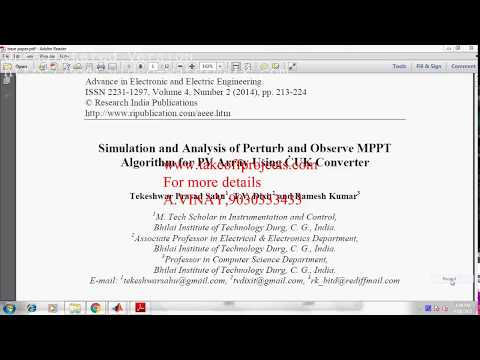 Simulation and Analysis of Perturb and Observe MPPT Algorithm for PV Array Using CUK Converter