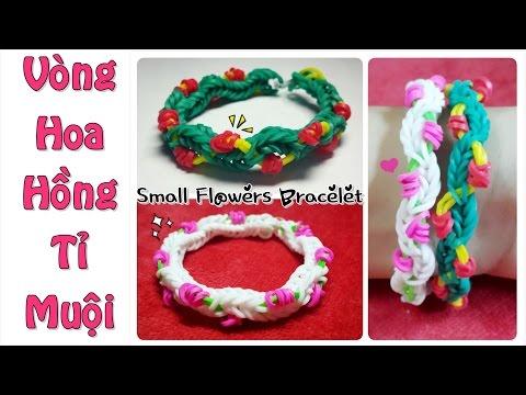 [HD] Hướng dẫn Cách làm Vòng Thun Cầu Vồng HOA HỒNG TỈ MUỘI ♥ Rainbow Loom Small Flowers Bracelet