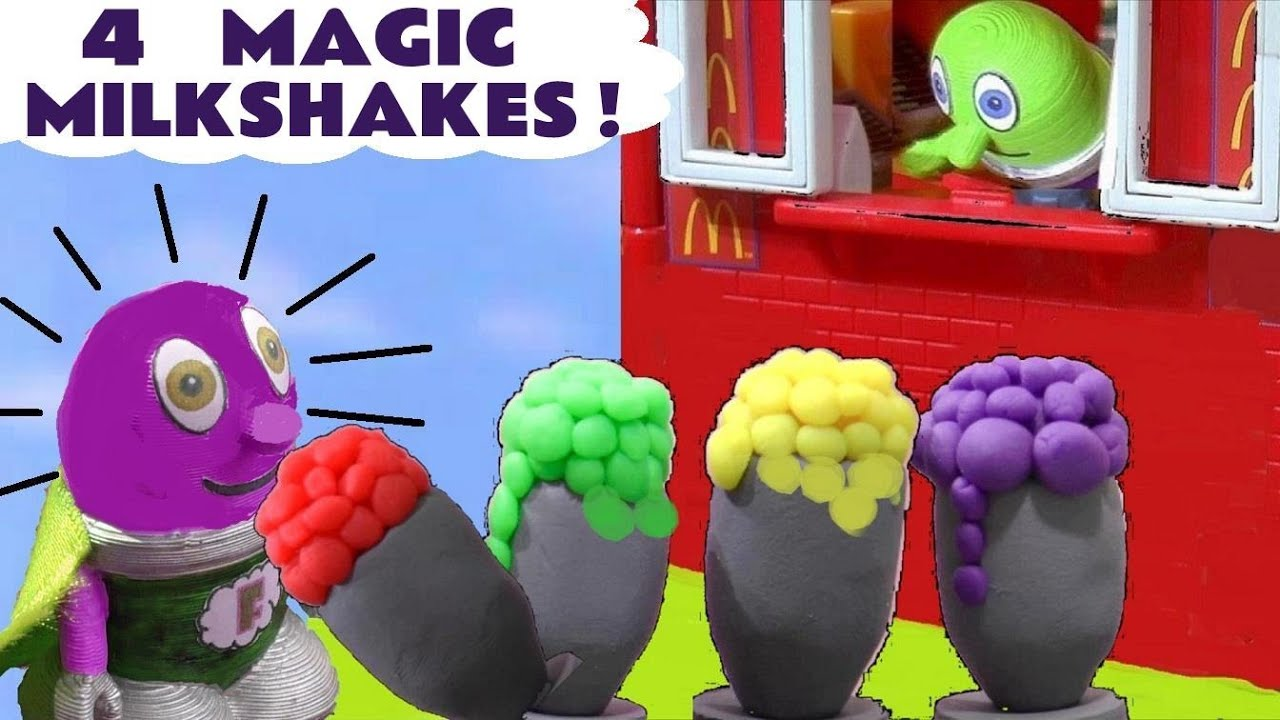 4 MAGIC Pretend Food Milkshakes from the Funlings Toy Food Drive Thru