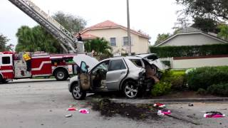 Rollover Car Accident Margate, FL Rock Island Rd near Firefighters Park 12/31/2014 Ford Ranger