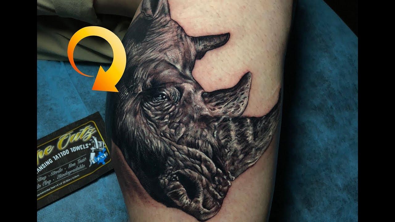 Rhino Tattoo Using Wipe Outz: Advanced Tattoo Wipes - YouTube