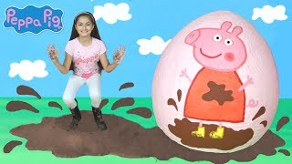 Peppa Pig Giant Surprise Egg Opening! Peppa Pig Toys Playtime Fun Unboxing Peppa Pig English Episode