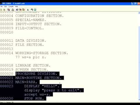 COBOL 1 Introduction Divisions Accept Display