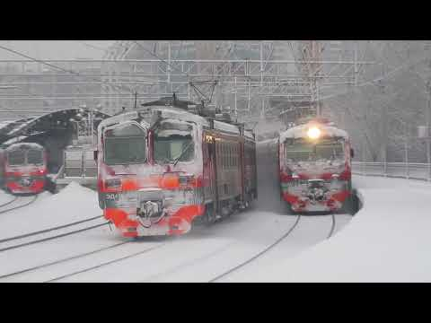 Электропоезда ЭД4М-0229\0363\0478\0203 платформа Электрозаводская 13.02.2019