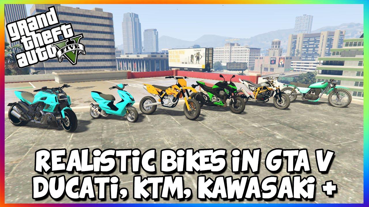 Кавасаки Мопеды |  Gta 5 pc Mods - Realistic Motorbikes